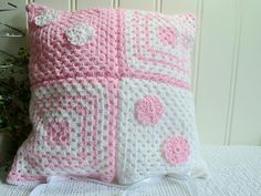Pink and white granny square cushion cover, handmade crochet, soft acrylic pillow case, 14 ""