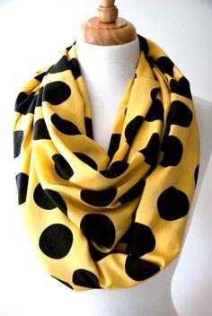 Yellow Black Polka Dot Infinity Scarf 36.5 x by ScharleCreations