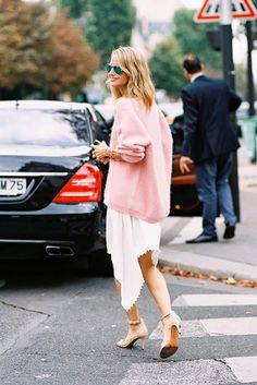 7. Style a slouchy sweater over a feminine dress.    Try: Somedays Lovin Library Oversized Sweater ($82) and Theory ForageFayna Dress ($275) in White    Street Style...