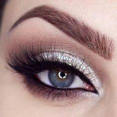 Wedding Silver Glitter Eye Makeup by kari