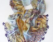 scarf, chiffon scarves / neckwarmer ,woman scarf, purple, blue, hand crocheted lace scarf  / bandana /turban / headband/ for her