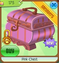 The Pink Chest is a members-only land den item. It is a seasonal item that is sold in Jam Mart Furniture during the Friendship Festival and was first released on January 30, 2011. This is a small, rectangular-shaped chest that is a pale magenta and strawberry pink color. It has curved sides and feet as well as a swirling pattern around the lid. The lid includes a latch on the front and a handle on the top. This item only comes in one variety.