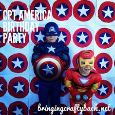 Captain America Birthday Party- cute idea for a wall background for pictures with Miles!