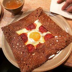 Breizh Cafe   Tokyo   Egg sunny side up, gruyere cheese and chorizo