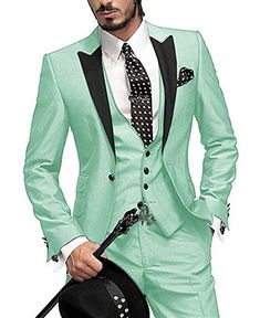 Fitty Lell Mens Suits 3-Piece Two Button Blazer Jacket Flat Front Pants Wedding Tuxedos Slim Fit Best Men Suits