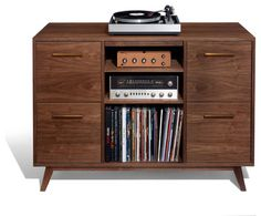 The Open/Close Record Cabinet: inspired by vintage stereo consoles, updated for today. Drawers for vinyl LP records, plus space for analog & digital components. LP Storage and audio console in one. Vinyl Record Storage, Lp Storage, Storage Units, Table Storage, Storage Ideas, Retro Chic, Retro Style, Vintage Stereo Console, Record Cabinet