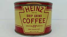 Vintage Heinz 57 Drip Ground Coffee 1 LB Can Tin w/ Lid, Pittsburgh PA, USA Rare