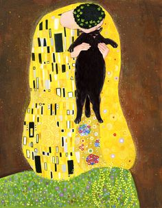 Kiss (black) Throw Cushion by Inna Ruda - Cover x with pillow insert - Outdoor Pillow Black Framed Art, Black Cat Art, Framed Art Prints, Illustrations, Illustration Art, Image Chat, Gustav Klimt, Mellow Yellow, Cat Love