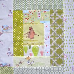 Heather Ross log cabin block | Kelby Sews