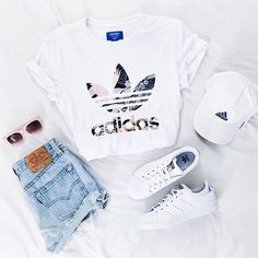 adidas, outfit and white image – – - school outfits Teenage Outfits, Teen Fashion Outfits, Outfits For Teens, Fashion Ideas, Fashion Trends, Cheap Fashion, Summer Teen Fashion, Style Fashion, Winter Fashion