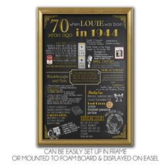 A fun 70th birthday customized digital printable poster for 1944 babies which include events, tidbits & facts from 1944! Perfect to print out and frame as a 70th birthday gift or a party decoration or party add-on!  ------------------------------------------------ • • • I T E M • D E T A I L S • • • ------------------------------------------------  • Available in the following sizes: 12 x 18, 16 x 20, 18 x 24 & 24 x 36 • Colors & text are customizable, leave me a message! • This is a high…