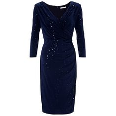 Buy Gina Bacconi Sequin Jersey Dress, Navy Online at johnlewis.com