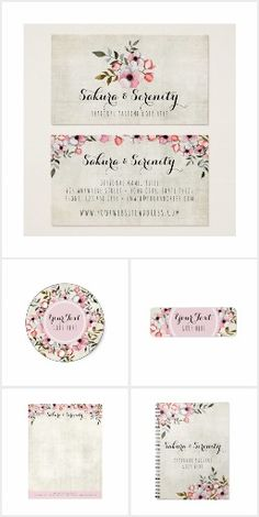 Sakura & Serenity | Rustic Small Business Branding & Marketing Cherry Blossom Design by CyanSkyDesign on Zazzle