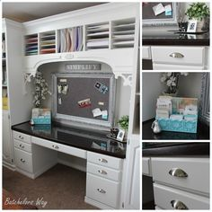 OMG!!! I love this Craft Room Remodel!!!! And she did it on a $500 Budget!!! Batchelors Way: Office Reveal - Built In Book Shelves on a $500 Budget