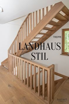 Solid wood staircase with banister made of wood in the trendy country house style . # country house style architecture Wooden stairs in country style Holzmanufaktur Ballert e. Diy Interior, Interior Decorating, Interior Architecture, New Kitchen Doors, Wood Staircase, Modern Stairs, Rock Decor, Banisters, Country Style Homes