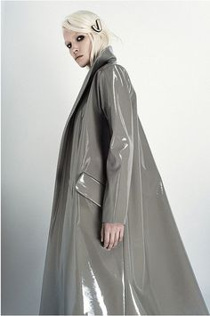 Grey PVC raincoat