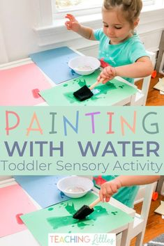 A simple set-up, fun, water play, sensory activity for indoors or outdoors. Keep your toddler busy and entertained by painting with water! This activity is easy and quick to set up and the only mess that's made is some splashes of water. Water Play Activities, Sensory Activities Toddlers, Motor Activities, Infant Activities, Toddler Activities For Daycare, All About Me Activities For Toddlers, Easy Crafts For Toddlers, Feelings Activities, Painting Activities