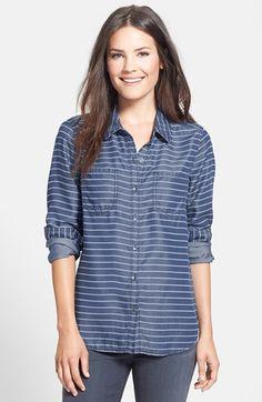 Halogen®+Long+Sleeve+Chambray+Shirt+(Regular+&+Petite)+available+at+#Nordstrom