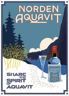 Illustration by Bill Philpot for Michigan distiller Norden Aquavit. Self Promotion, Original Artwork, Posters, Travel Style, Michigan, Appreciation, Chicago, Friends, Amazing