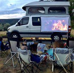 Just a typical night at the movies. 📷 ————— 🚐 Show off your Sprinter Van! Truck Camping, Van Camping, Motorhome, Van People, Camper Van Life, Kombi Home, Sprinter Van Conversion, Sprinter Camper, Van Interior