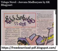 Telugu Novel - Jeevana Madhuryam by KK Bhagyasri Free Novels, Free Pdf Books, Telugu, Reading Online, Good Books, Great Books