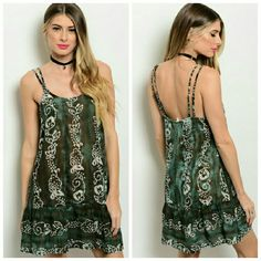 Olive Print Mini Dress This flowy mini dress features a tie dye theme with floral design all over. Has double spaghetti straps and a scoop neckline.  100% Cotton   Price firm! No offers please! Dresses Mini