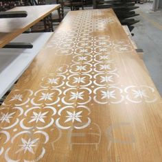 Stencilled Table Tops - Contract Furniture Hospitality Leisure Chairs Tables Soft Seating Outdoor Reclaimed Recycled Refurb Second Hand - Pub Furniture, Restaurant Furniture, Café Furniture, Hotel Furniture, Nightclub Furniture - CFG Furniture West Midlands Shropshire