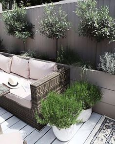 This garden may be small but it is very good for pollinators thanks to two lavender pots. I like that I can always move them around if I need to 🐝🐝. Patio Design, Garden Design, House Design, Cool Lighting, Outdoor Lighting, White Deck, Outdoor Sofa, Outdoor Decor, Outdoor Gardens