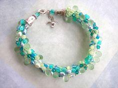 chunky kumihimo   Turquoise and Green Kumihimo Bracelet, Chunky Beach Bracelet, Beaded ..