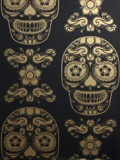 Bespoke Day of the Dead wallpaper black detail by Emily Evans London