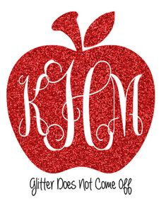 DIY Glitter Iron On Apple Monogram Personalized by VinylDezignz, $7.95