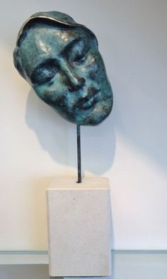 Bronze & stone Small / Little Abstract Contemporary Sculptures / Statues #sculpture by #sculptor Jane Robbins titled: 'Dreamer' #art