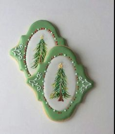 Bobbi Crowley:  Beautiful hand-painted Christmas trees on a plaque.