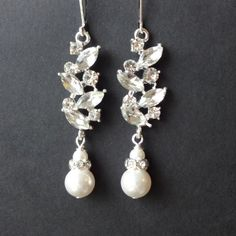 Dangly Rhinestone Bridal Earrings, Crystal Filigree Leaf Wedding Earrings, Vintage Style Crystal & Pearl Earrings, Chandelier Earrings, EVIE