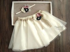 Girl Tulle Skirt Tea Length Ivory Tulle Skirt 3 Layers Sewn