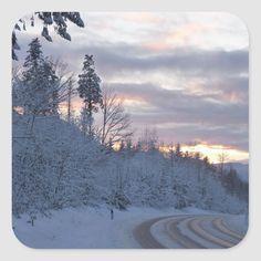 Winter Wonderland Road Square Sticker