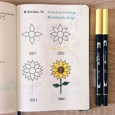 Bullet journal designs seem too complicated for you? Worry not. These doodles are very easy to draw. You'll have a nice and chic design in no time! drawing 36 Simple Doodles You Can Easily Copy in Your Bullet Journal - Simple Life of a Lady Easy Flower Drawings, Cute Easy Drawings, Flower Drawing Tutorials, Sunflower Drawing, Butterfly Drawing, Bullet Journal Notes, Bullet Journal Aesthetic, Bullet Journal For School, Bullet Journal Doodles Ideas