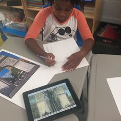 3rd grade students COMPARED Childe Hassam's painting Washington Arch in Spring with how the Washington Arch looks today via Google Images. #StemtoSTEAM #PRISMK12 @Philllipscollection #InspiredTeachingPublicCharterSchool