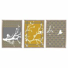"""Shadowbox-framed giclee silkscreen with a tree branch motif.   Product: Set of 3 wall artConstruction Material: Paper, glass, and polystyreneColor: Silver frameFeatures: Ready to hangDimensions: 30.5"""" H x 67.5"""" W x 1.5"""" D"""