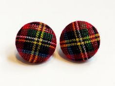 Tartan Plaid Fabric Button Earrings Textured Plaid Womens Posts Girls Holiday Accessories Fabric Earrings Stocking Stuffer Gift for Her