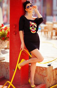 Are you puzzled?) #Rich and #colorful #lace pattern #applique of #skull create an outstanding #design by O #Fashion.  Whether you decide to wear it as a #dress or a #tunic it wont' take a while to puzzle it out how stylish you are!  Made of 42% cotton/ 50% modal/ 8% elasthan blend. Hand wash or spot cleaning (professional dry cleaning) only.  No bleach. The sizes are: XS, S, M, L, XL.