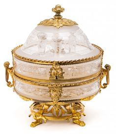 A French Napoleon III liquor case in gold-plated bronze and engraved crystal by Alphonse Giroux from