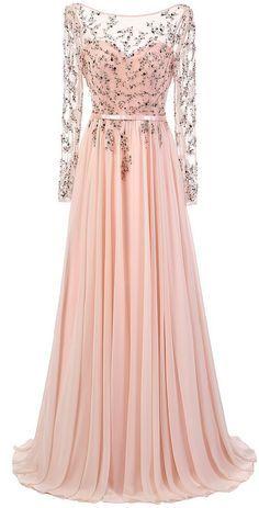 Long Sleeve Beading Prom Dress,Long Prom Dresses,Charming Prom Dresses,Evening