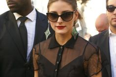 lace, black, chiffon, red lips, statement earrings, nothing can get better then this.