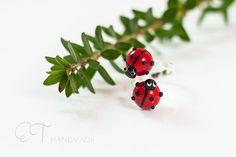 Ladybug double ring  Ladybud jewelry nature by EThandmadeshop
