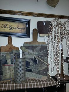 Primitive Cutting Boards, Cheese Grater, Scoop and Willow Tree