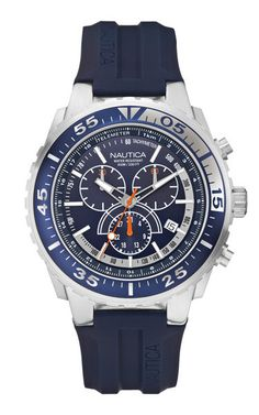 Nautica Watches N14676GBr Slv Case, Navy Dial, Chronograph, Navy Resin Strap, 45mm Case