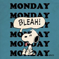 "Snoopy == Monday ""Bleah"" >> Hoping ALL Our Pinterest Friends & Family Everywhere Have a BETTER Monday !!"