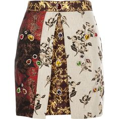 Red jewel embellished jacquard A line skirt