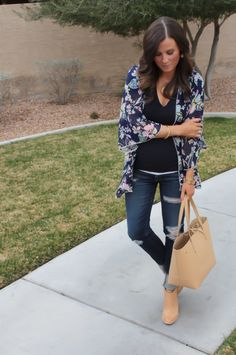 Navy Floral Kimono, Navy Tee, Distressed Skinny Jeans, Tan Mules, Tan Tote, Forever 21, J.Crew, AG Jeans, Dolce Vita 2